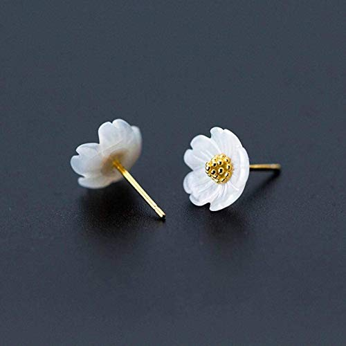 ShenMiDeTieChui Simple NEWHICHMUCKS S925 Earrings Silver Earrings Fashion Women Korean Sweet Top Flower Golden Floral Earrings Jewelry With Five Flowers (Color : A)