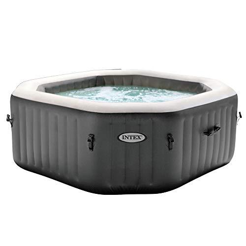 Intex 28413WL PureSpa 4 Person Fiber-Tech Construction Portable Octagonal Inflatable Hot Tub Spa with 120 Bubble Jets, Gray