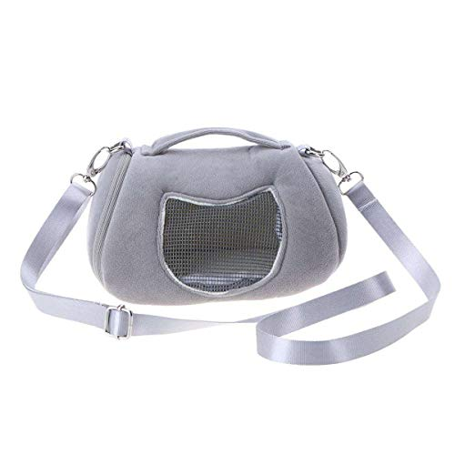 Haustier Tragetasche, Tragbare Atmungsaktive Hamster Ratten Schultertasche Handtasche Reise Wandern Haustier Tasche Winter Warme Käfig Nest Eichhörnchen Zubehör (Color : Grey)