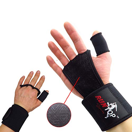 """RUNTOP Cross Fitness Training WODS Grip Gloves Pads with Strong Wrist Wrap (18"""" Professional Quality) Brace Support & Silicone Padding Workout Fitness Weight Lifting Powerlifting Gym (Black, S)"""