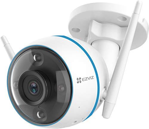 EZVIZ Überwachungskamera Aussen, CTQ3N WLAN IP Kamera 1080P Outdoor mit AI- Personenerkennung, 3-Nachtsichtmodi, Blitzalarm, 256GB SD-Karten, IP67 wasserdichte Sicherheitskamera, Kompatibel mit Alexa