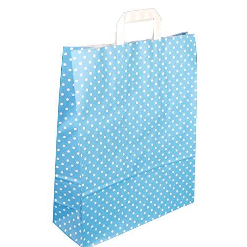 250 Papiertragetaschen 32+14x42cm Papiertüten Einkaufstüten Papier blau hellblau mit weißen Punkten, Motiv Punkte Pünktchen Polka Dots
