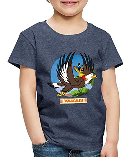 Yakari Indianer Fliegt Auf Großer Adler Kreislogo Kinder Premium T-Shirt, 134-140, Blau meliert