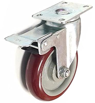 3 Inch, 4 Inch, or 5 Inch Caster Wheels Swivel Plate / Stem / Break Casters On Red Polyurethane Wheels 880 Lbs (5 Inch With Break)