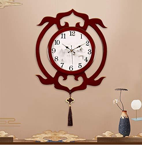 Nouveau style chinois horloge murale vent chinois décoration horloge salle familiale montre murale mode créatif art en bois personnalité horloge (taille : Small)