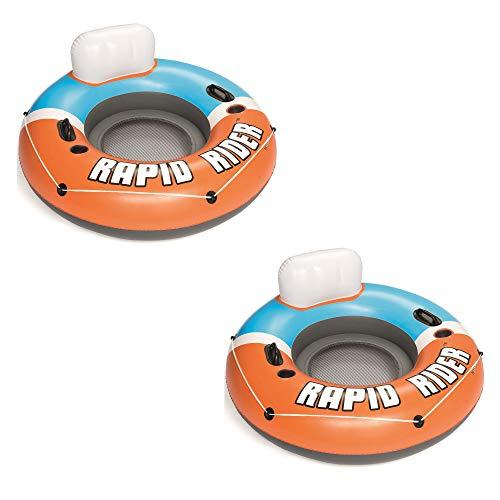 Bestway CoolerZ Rapid Rider Inflatable Blow Up Pool Chair Tube, Orange (2...
