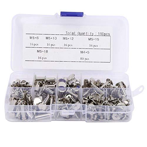 160 stks schroeven nagel klinknagels M5 platte hoofd Studs Kit bevestigingsmiddelen voor fotoalbum leer Craft Book DIY