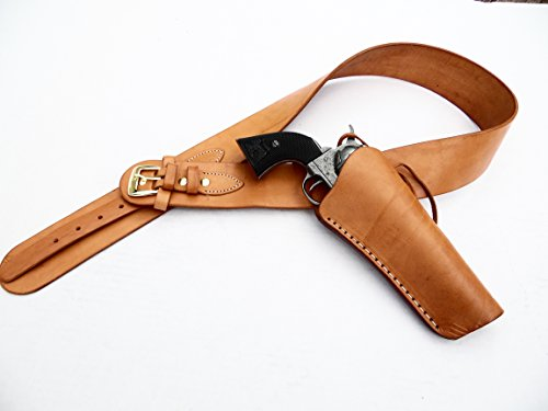 Western Gunbelt with Tooled Cross Draw Holster Combo - Leather - Natural Color (40')