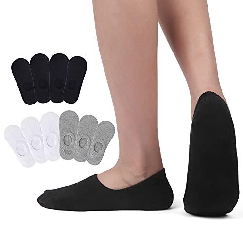 PAUNEW Calzini Corti Fantasmini Nero Bianca Grigio Donna Sneaker Invisibili Calze Cotone Uomo 10 Paia 35-38