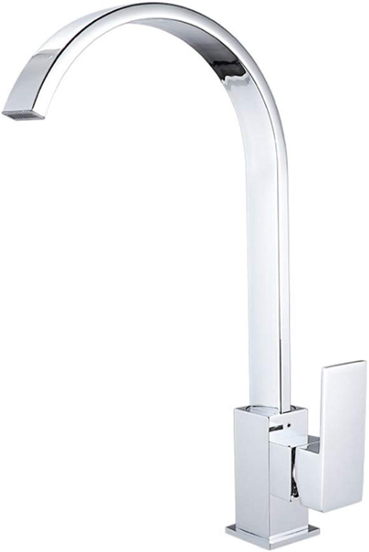 Zhangcaiyun-Home Chrom Farbe Gebürstet Finish Kitchen Sink Wasserhahn Einzigen Griff Hohe Arc Kupfer Küchenarmaturen Kalt Warmwasser Mischer Bad