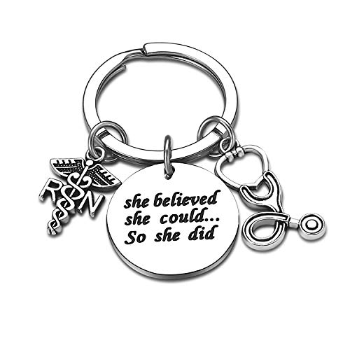 Nurse Gifts for Women Nursing Jewelry RN Nurse Keychain Thank You Gifts Nurse Appreciation Gift for Birthday Graduation Christmas (She Believed She Could So She Did)