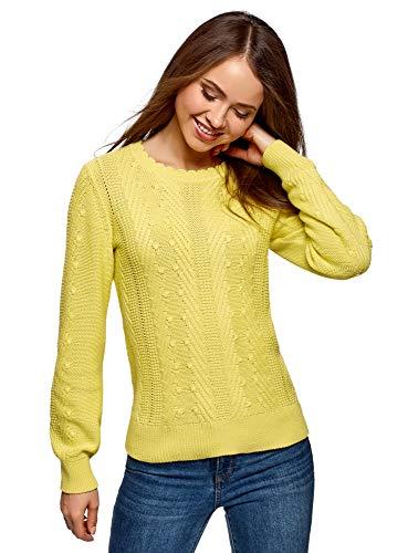 oodji Ultra Mujer Jersey de Punto Texturizado, Amarillo, ES 34 / XXS