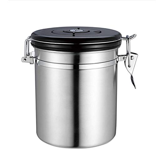 fdfd Coffee Pot, Stainless Steel Kitchen Food Storage Sealed Coffee Container-with Exhaust Valve, Can Hold Beans, Ground, Tea, Flour, Grain, Sugar