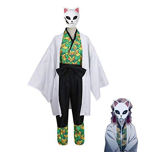 LCHENX-Japn Anime Kimetsu No Yaiba/Demon Slayer Sabito Cosplay Disfraz Conjunto Completo de Traje de Fiesta de Dibujos Animados de Halloween,Verde,L
