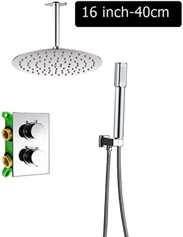 LWSFZAS Deckenmontage 16 Regendusche Mischerset Thermostatmischerventil Dusche WasserhahnMischbatterieEmbedded Box Thermostatventil16 Zoll Runde Decke