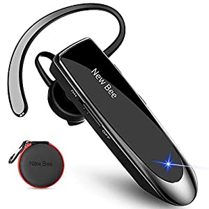 New bee Bluetooth Headset V5.0 Handsfree Bluetooth Earpiece with 24h talking time and More 60 Days Standby with Headset Case for iPhone, Android and Laptop by New Bee