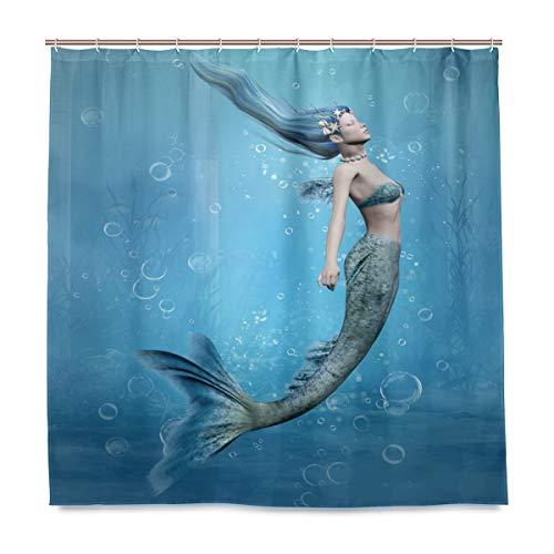 Wamika Rideau de Douche étanche en Tissu résistant à la moisissure avec 12 Crochets 183 x 183 cm