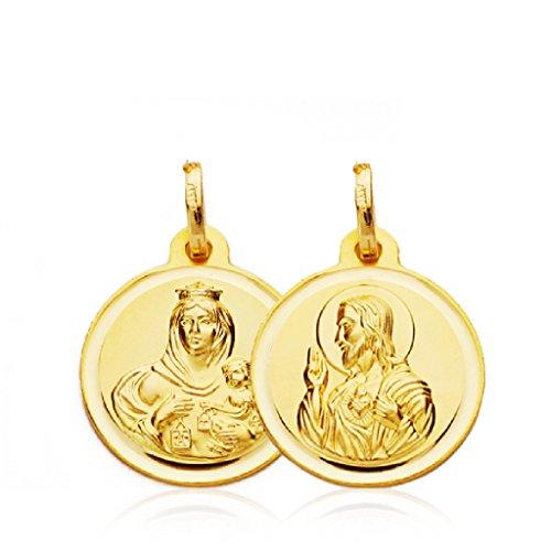 Escapulario Medalla Bebés/Niño Oro Amarillo 18 ktes Tamaño 16 mm Sagrado Corazón y Vírgen del Carmen