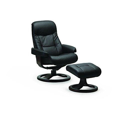 Muldal fauteuil relax avec tabouret repose-pieds en cuir noir by fjords large
