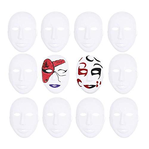 Ritte 12 Pezzi Maschera Bianca, Faccia Intera Bianca Polpa Maschera per Dance Cosplay Party, Plain Masquerade, Decorazione Fai-da-Te, Maschera Dipinta a Mano (Stile Ragazza)