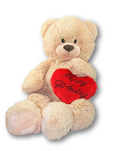 Geschenkestadl XXL Teddybär 100 cm mit Herzkissen Happy Birthday 36 x 30 cm Set Kuscheltier Stofftier Plüschtier Teddy Herz