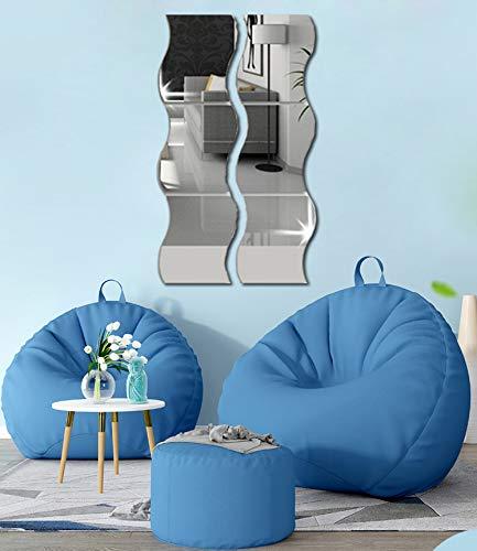 Adhesivos de pared de acrílico con efecto espejo ondulado, 6 unidades, para decoración del hogar, para el hogar, la sala de estar, el dormitorio, el sofá, la TV, decoración de la pared