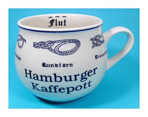 Hamburger Kaffeepott Pott Tasse 9 x 10 cm Ebbe Flut Knoten Becher Kaffeetasse Kaffeebecher Deko GPT 85101