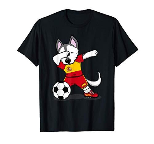 Dabbing Husky Dog España Fútbol - Bandera española Camiseta