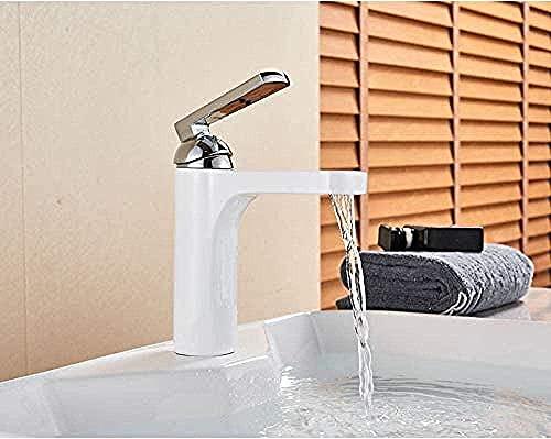 Grifo de lavabo de pintura blanca Grifo de latón montado en la cubierta Grifo mezclador de baño corto de una manija Mezclador de frío caliente Grifo de agua montado en la cubierta de la grúa