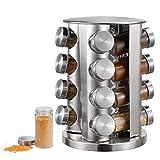 Portaspezie con 16 barattoli per spezie (senza contenuto), in acciaio inox, girevole a 360°, portaspezie in vetro, portaspezie