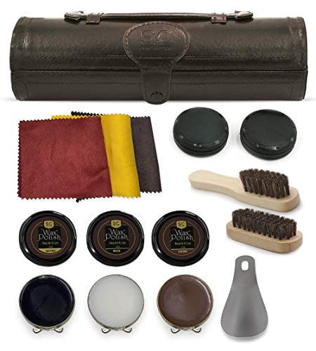 Stone & Clark 12PC Shoe Polish & Care Kit, Leather Shoe Shine Kit with Brown Wax, Shoe Brushes for Polishing, Shine Cloth & Shoe Horn, Compact Shoe Cleaning Kit with Horse Hair Brushes & PU