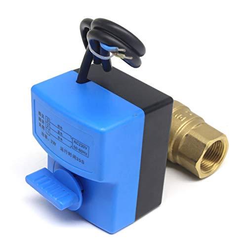 NKJH Das elektromagnetische Ventil AC220V 2-Wege-3 Drähte Elektrischer Antrieb Messing Kugelhahn, warm und kalt Wasser-Dampf/Wärme Gas Messing-Motorkugelventil Industriebedarf (Specification : DN20)