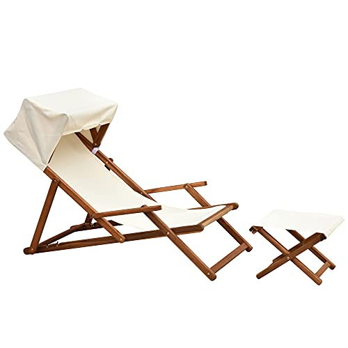 Outsunny Folding Deck Chair With Canopy & Footrest