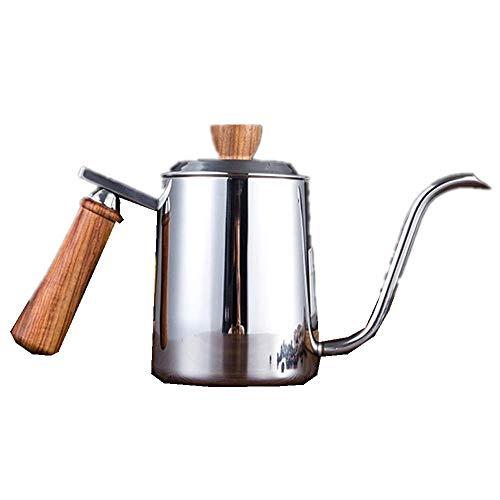 Kaffeekanne mit langem schmalem Mund, Edelstahl-Kaffeekanne, Schwanenhalsauslauf, Gießkanne, Kaffeekanne, Kaffee-Handkanne, Holzgriff 600 ml 350 ml, weit verbreitet