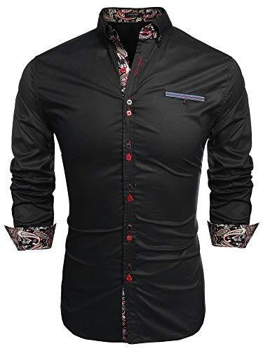 Coofandy Chemise Homme Manche Longue Coton de Marque Col Italien Boutonné Casual,Noir,XXX-Large
