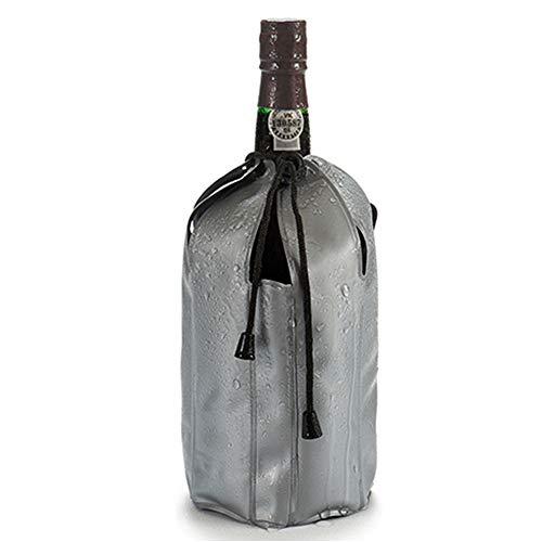Regalos Estrella Azul Enfriador botella vino color plateado, funda enfriadora botellas de vino y champán ajustable con cuerdas en la parte superior