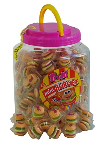Party Bucket mit 90 Trolli Mini Burger in Einzelverpackung, 1er Pack (1 x 900g)