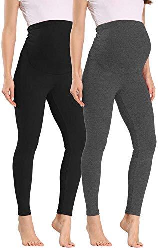 Vocni Legging feminina para grávidas confortável de algodão para gestantes até o tornozelo, A#-2pack Black+grey, XL