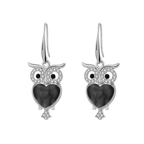 Orecchino a pendente per le donne, orecchino a goccia gufo fortunato brillante orecchino a cerchio con strass orecchino con cristallo (Placcato argento)