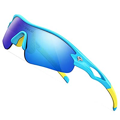 TOREGE Kids Sports Polarized Sunglasses for Junior Boys Girls Age 3-9 Grilamid TR90 Flexible Frame Glasses for Youth Polarized UV Protection TR22 REMEX (Blue&Yellow&Blue Lens)