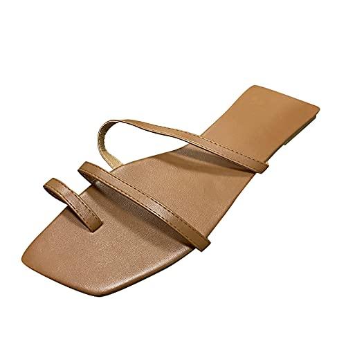 Xmiral Damenschuhe Einfache Hausschuhe Quadratischer Zeh Einfachheit Flip Flop Indoor Outdoor Freizeitpantoffeln(40,Braun)