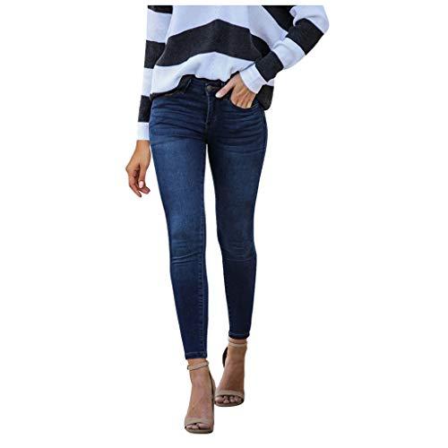FinDaDa Neue Damen Sexy Mode Jeans mit elastischer Taillenspitze, Frauen hohe Taille Loch Jeans Knopf Hose Dunke Blau, Schwarz S/M/L/XL/XXL,Damen Jeanshose,Frauen Röhrenjeans Jeans-Overalls