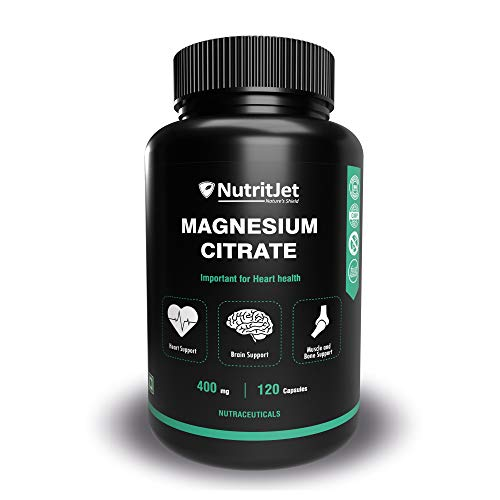 NutritJet Magnesium Citrate Powder Capsules 400mg – [120 Caps] Pure Non-GMO Supplements – Natural Sleep Calm Relax