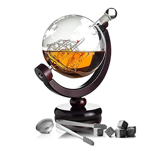 Whisiskey® Whiskey Karaffe - Globus - Whisky Karaffe Set - 900 ml - Geschenk für Männer und Frauen - Inkl. 9 Whisky-Steine und Schenktülle
