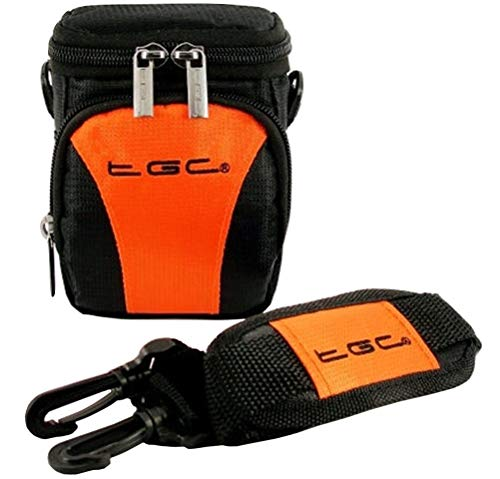 De TGC ® Anti-Shock Camera Case voor Maginon Kids DV-1, Jet Zwart & Hot Oranje
