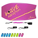 Own the Wave 37' Body-Board with Bodyboard Leash and Swim Flipper Straps - HDPE Slick Bottom and EPS Core - Boogieboard for Kids and Adults - Perfect for Surfing and Beach (Pink & Yellow)