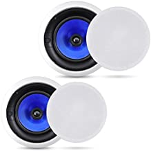 2-Way In-Wall In-Ceiling Speaker System - Dual 6.5 Inch 250W Pair of Hi-Fi Ceiling Wall Flush Mount Speakers w/ 1
