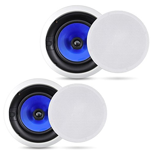 2-Way In-Wall In-Ceiling Speaker System, Dual 6.5 Inch 250W Pair of Hi-Fi Ceiling Wall Flush Mount Speakers w/ 1' Silk Dome Tweeter, Adjustable Treble Control For Home Theater Entertainment Pyle PIC6E