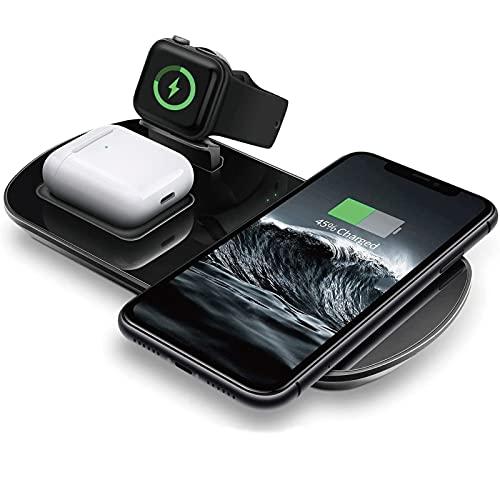 【3in1 ワイヤレス充電器】急速充電 スタンド充電器 置くだけ充電器 ワイヤレスチャージャー USB-A to Type-C ケープル 各種スマホ(iPhone/Android)/AirPods/Apple Watch(アップルウォッチ)/Galaxy