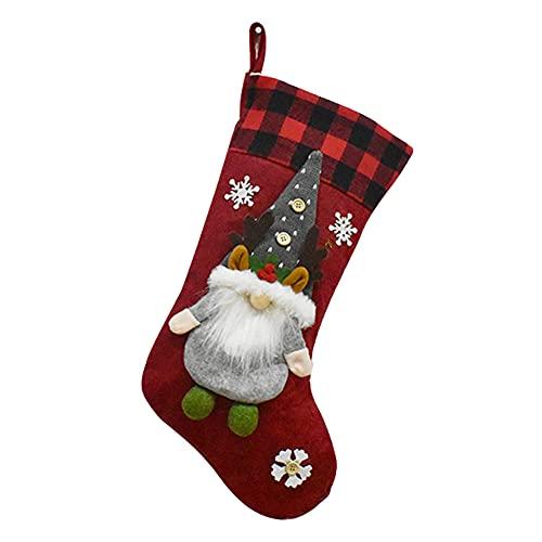 ODOORACT Calcetines de Navidad, calcetines de chimenea para Navidad, calcetines de Papá Noel, para rellenar, calcetines de Navidad para textiles del hogar (19 x 9 pulgadas)